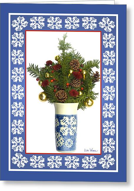 Snowflake Vase With Christmas Regalia Greeting Card by Lise Winne