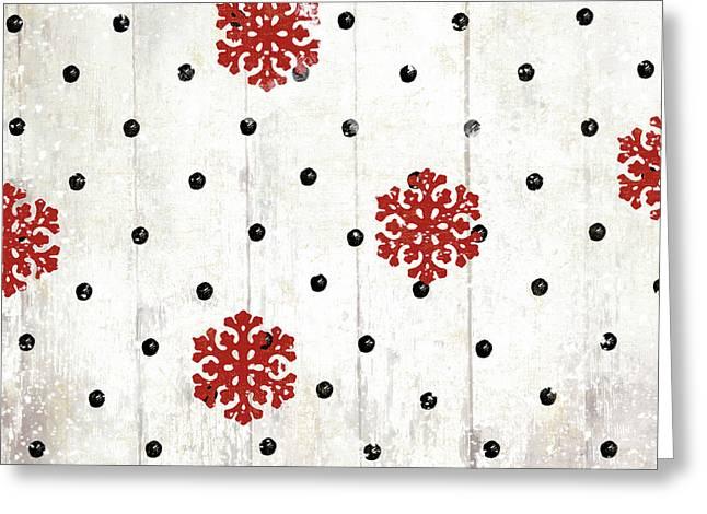Snowflakes And Polka Dots Pattern Greeting Card