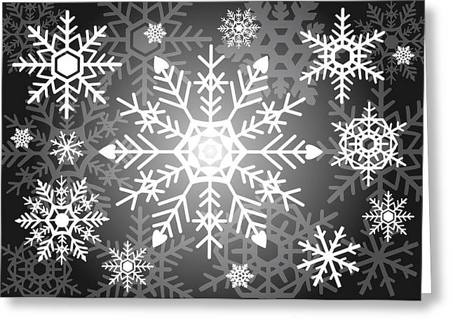 Snowflakes Black And White Greeting Card