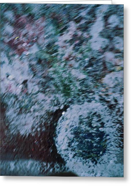 Snowglobe Gone Wild Blue Greeting Card by Anne-Elizabeth Whiteway