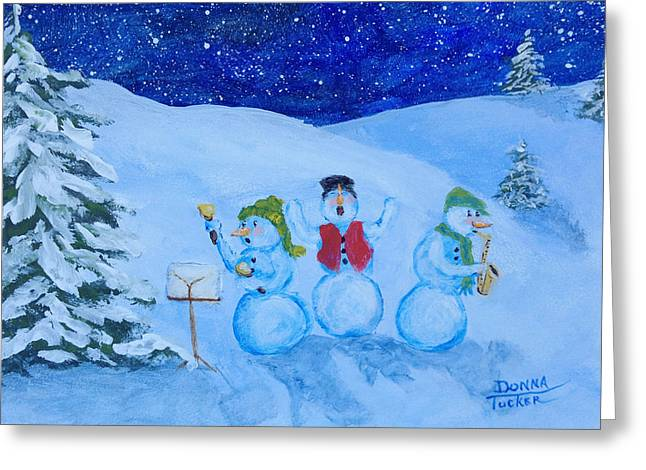 Snowie Musicians Greeting Card by Donna Tucker