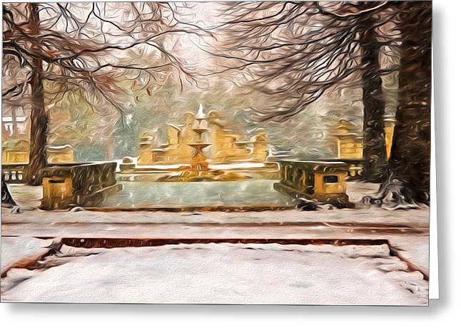 Snowing In Tower Grove Park Greeting Card by Steven Michael