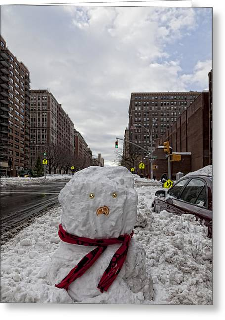 Snowman 96th Street And Park Avenue 4 Greeting Card by Robert Ullmann