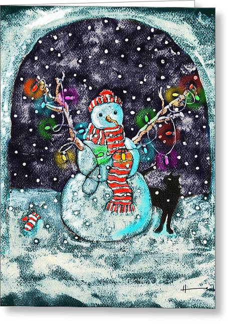 Cat Christmas Cards Greeting Cards - Snowman and Cat Greeting Card by Catherine Martha Holmes