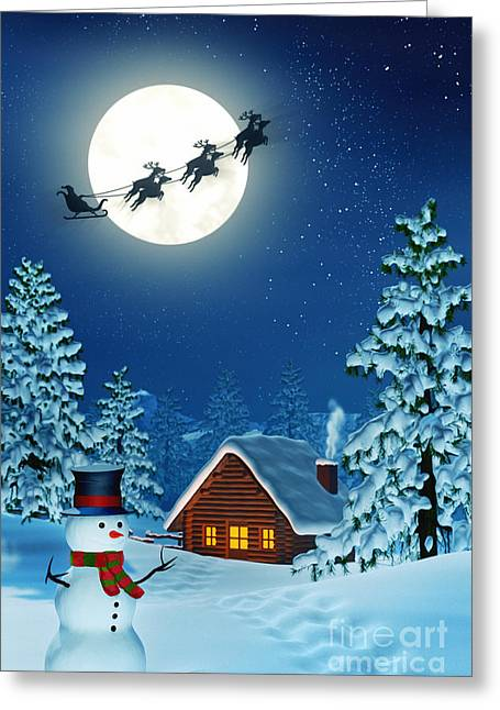 Snowman And Santa And A Cabin In Moonlit Winter Landscape At Night Greeting Card