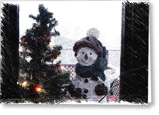 Snowman And Tree Pa Greeting Card by Thomas Woolworth