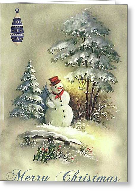 Greeting Card featuring the digital art Snowman Christmas Card by Greg Sharpe