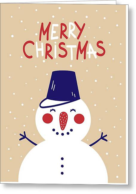 Greeting Card featuring the digital art Snowman by Christopher Meade