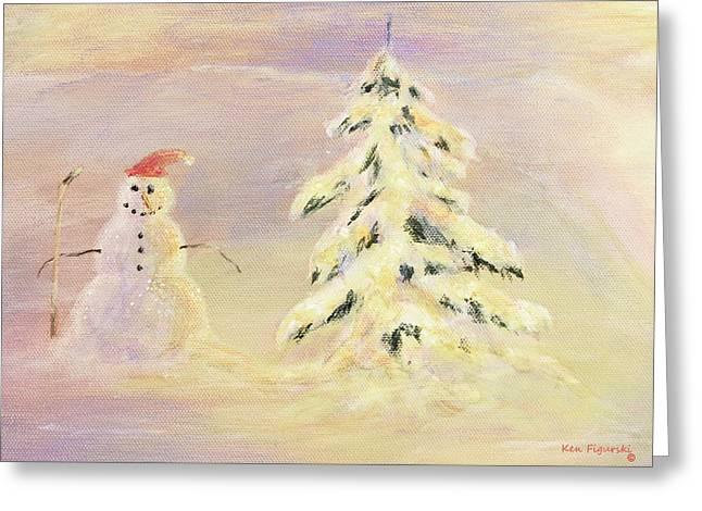 Snowman Crop Greeting Card by Ken Figurski