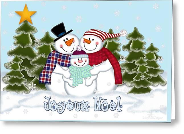 Snowman Family Christmas Card Joyeux Noel Digital Art By Linda Allan