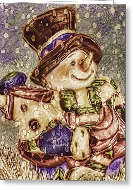 Snowman Friends Greeting Card by Jean OKeeffe Macro Abundance Art