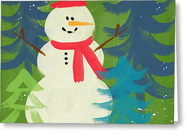 Snowman In Red Hat-art By Linda Woods Greeting Card by Linda Woods