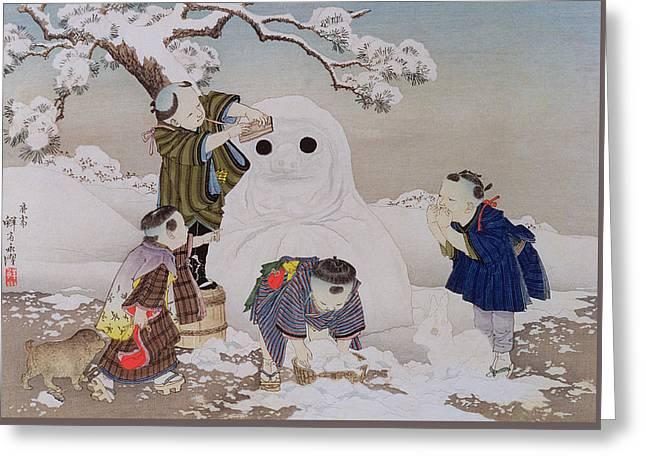 Snowman Greeting Card by Kobayashi Eitaku