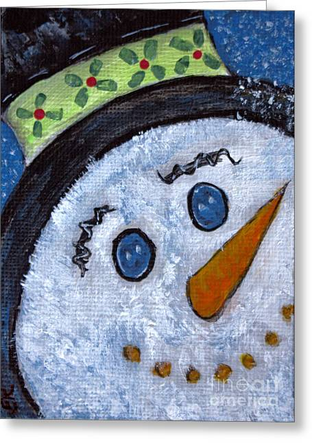 Snowman Magic On Christmas Eve Greeting Card by Ella Kaye Dickey