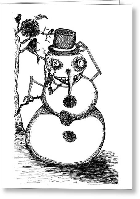 Snowman Greeting Card by Michael Mooney