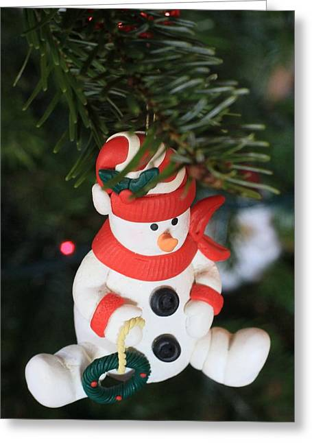Snowman On A Christmas Tree  Greeting Card by American School