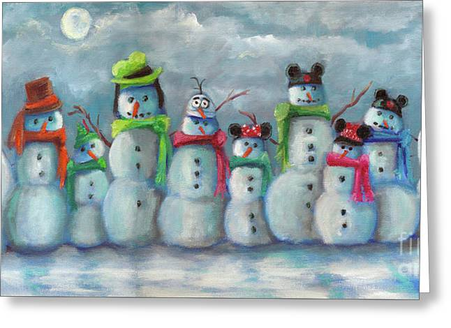 Snowman Parade Greeting Card by Marnie Bourque