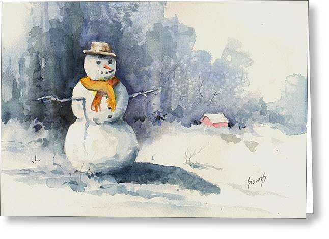 Snowman. Greeting Cards - Snowman Greeting Card by Sam Sidders