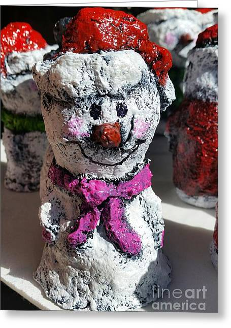Snowman Pink Greeting Card