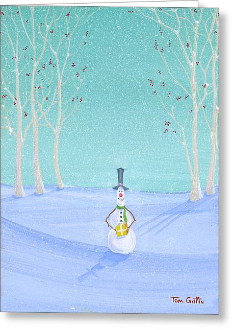 Christmas Art Greeting Cards - Snowman With Gift Greeting Card by Thomas Griffin