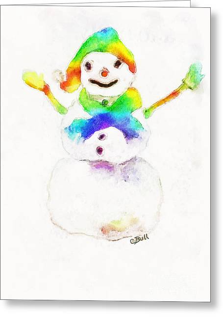 Snowman With Rainbow 1 Greeting Card by Claire Bull