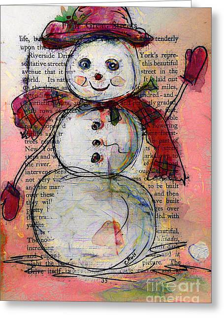 Snowman With Red Hat And Mistletoe Greeting Card