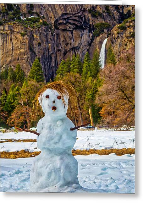 Snowman Yosemite Valley Greeting Card by Garry Gay