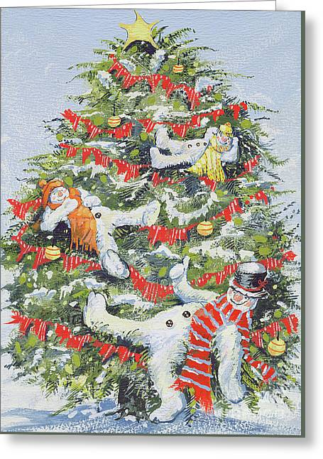 Snowmen In A Christmas Tree Greeting Card by David Cooke