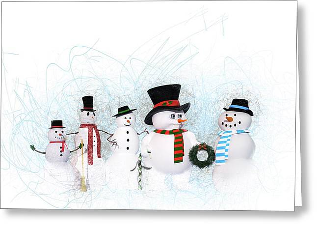 Greeting Card featuring the painting Snowmen by Methune Hively