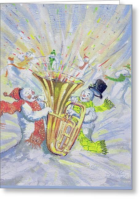 Snowmen's Oompah Greeting Card by David Cooke