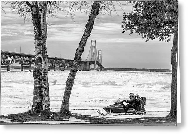 Greeting Card featuring the photograph Snowmobile Michigan Black And White  by John McGraw