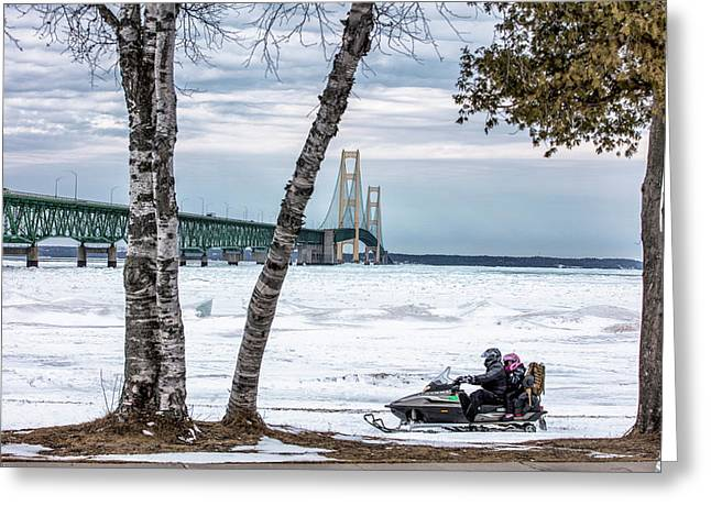 Greeting Card featuring the photograph Snowmobile Michigan  by John McGraw