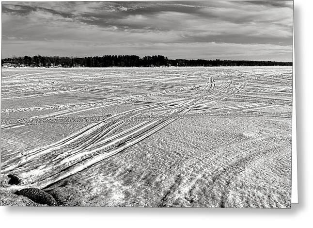 Snowmobile Tracks On China Lake Greeting Card by Olivier Le Queinec