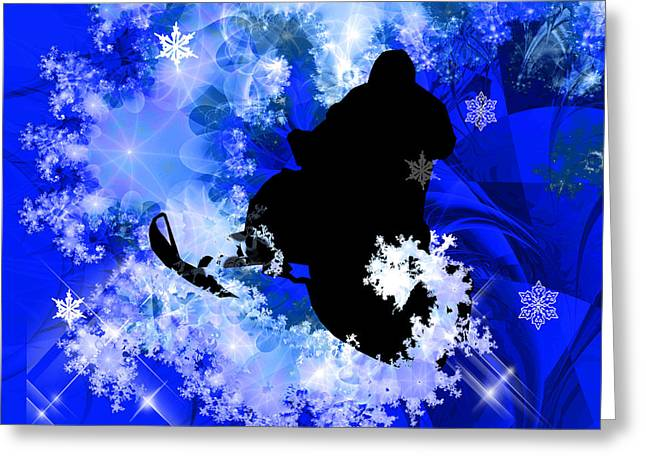 Snowmobiling In The Avalanche  Greeting Card by Elaine Plesser