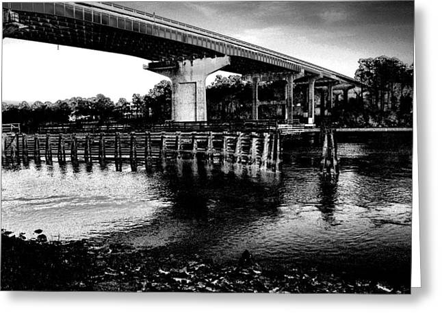 Snow's Cut Bridge Black And White Greeting Card by David Anderson