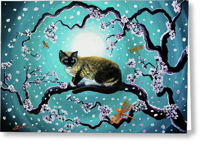 Snowshoe Cat And Dragonfly In Sakura Greeting Card by Laura Iverson