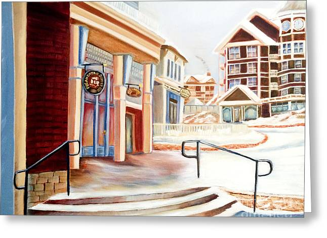 Snowshoe Village Shops Greeting Card by Shelia Kempf