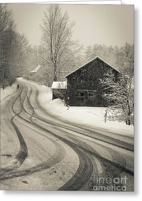 Snowstorm Country Road New Hampshire Greeting Card