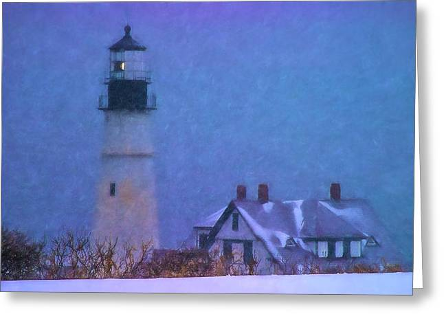 Snowstorm Hits Portland Lighthouse Greeting Card