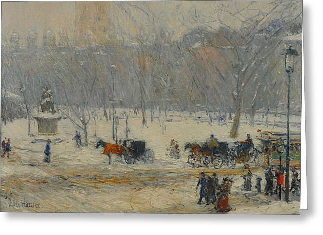 Snowstorm, Madison Square Greeting Card by Childe Hassam