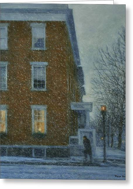 Snowstorm On Albany Street Greeting Card
