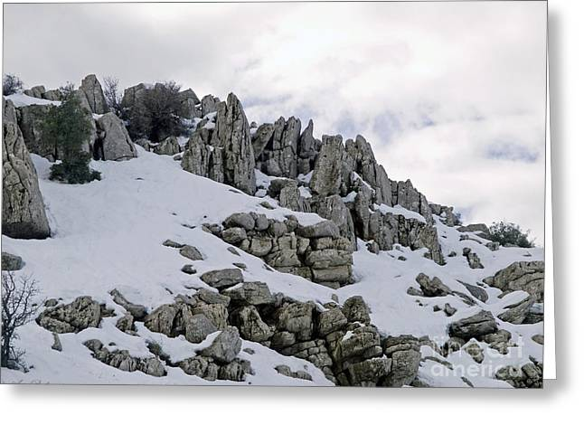 Holyland Greeting Cards - Snowy ancient landscape Greeting Card by Arik Baltinester