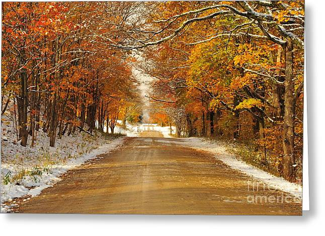 Snowy Autumn Morning In Pure Michigan Greeting Card