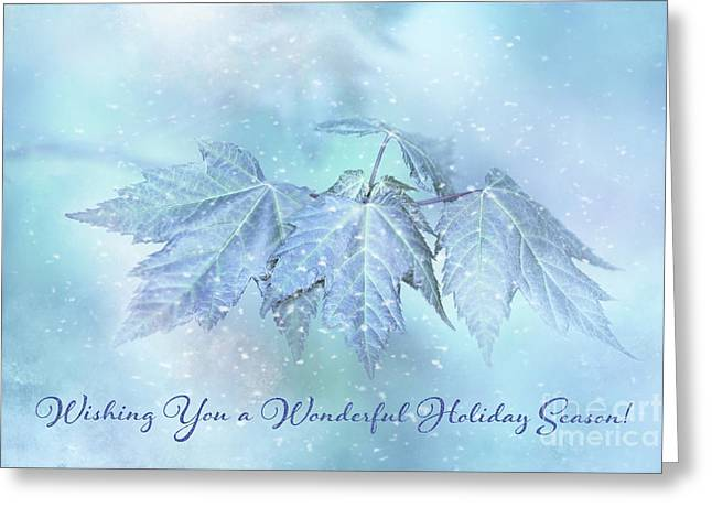 Snowy Baby Leaves Winter Holiday Card Greeting Card