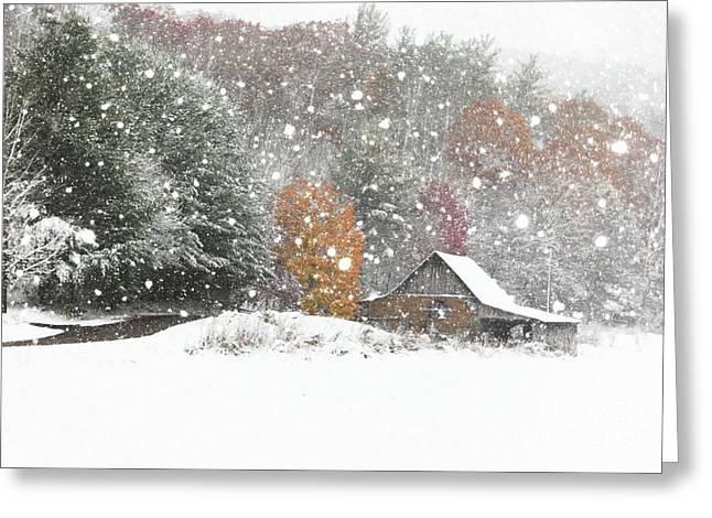 Snowy Barn Greeting Card by Benanne Stiens