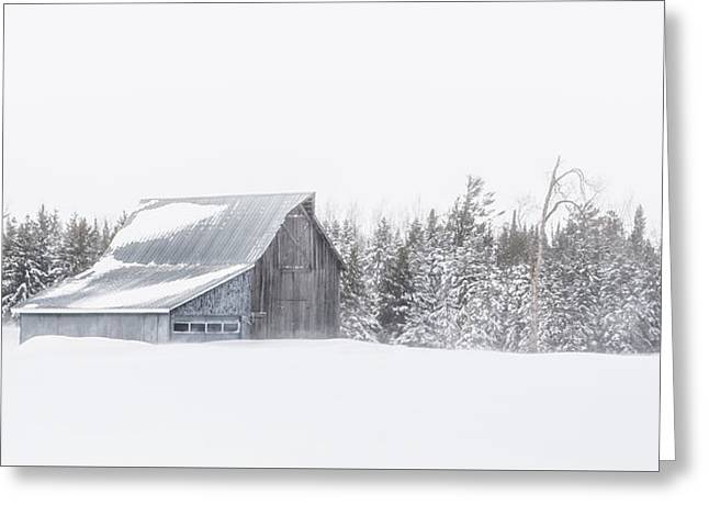 Snowy Barn Greeting Card by Dan Traun