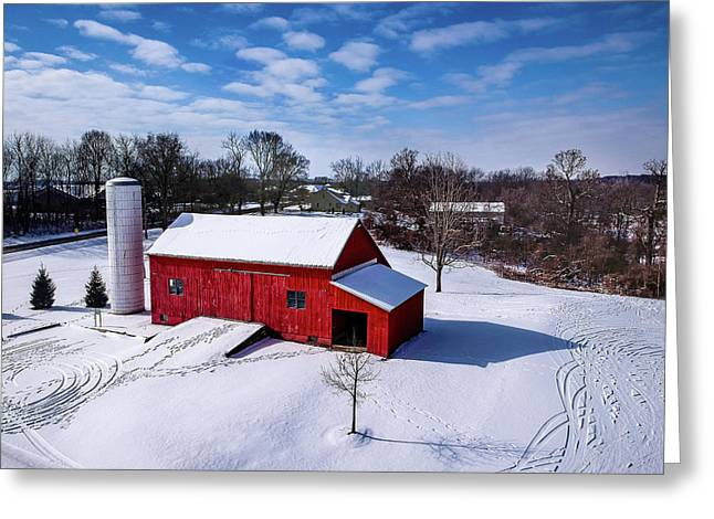 Snowy Barn Greeting Card