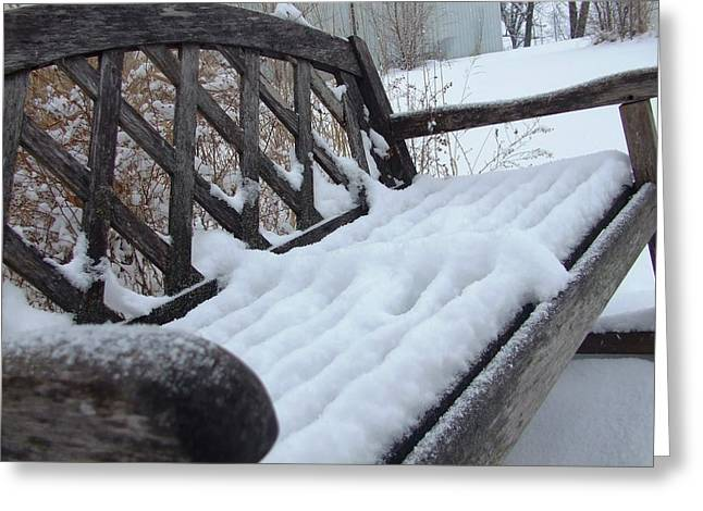 Snowy Bench Greeting Card by Ali Dover
