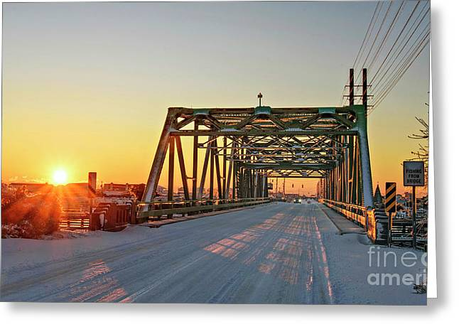 Greeting Card featuring the photograph Snowy Bridge by DJA Images