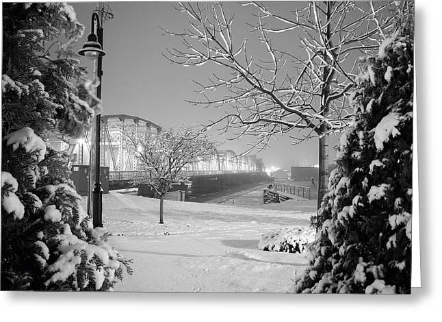 Winter Scenery Greeting Cards - Snowy Bridge with Trees Greeting Card by Jeremy Evensen